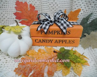 Pumpkins, Candy Apples, Book Stack Set, Fall Decor, Farmhouse Autumn, Hand Cut Wood, Hand Painted Created, Shelf Sitter, Bookcase, Table Set