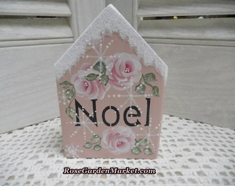 Noel Hand Cut Wood Block House with Hand Painted Roses, Pink with Distress, Snowy Glitter, Shelf Sitter, Tray Fillers, Holiday