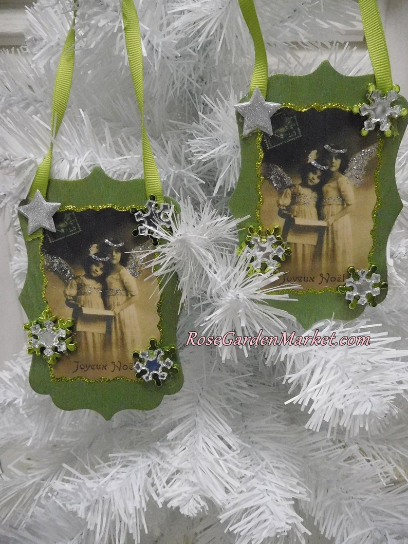 Christmas Angels Wood Ornament 2pc Set Shimmer Green with image 0