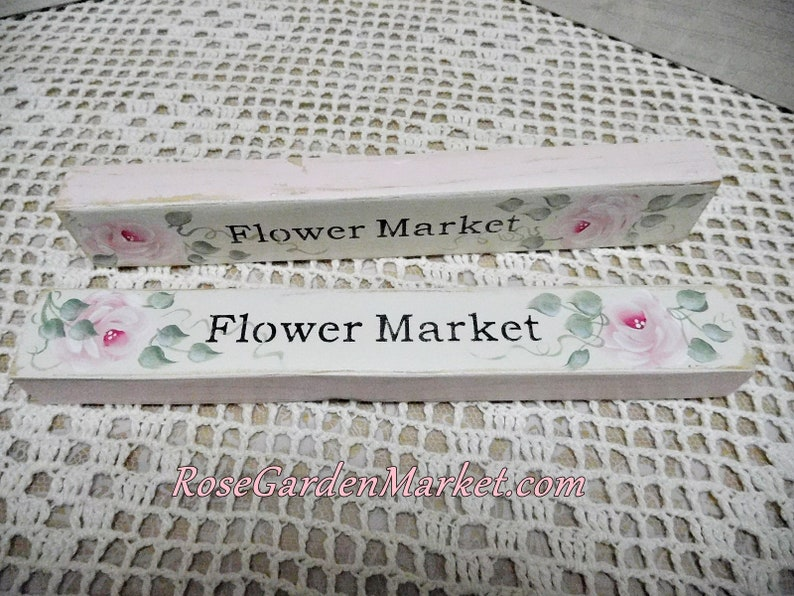 Two Piece Set of Wood Flower Market Block Signs with Hand image 0