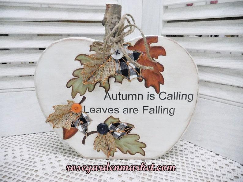 Fall Block Pumpkin Hand Cut Painted Handmade Fall Trims image 0