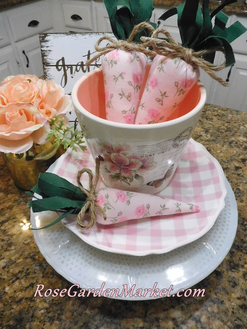 The Carrot Patch 3 Pink and Roses Fabric Trio set Shabby image 0