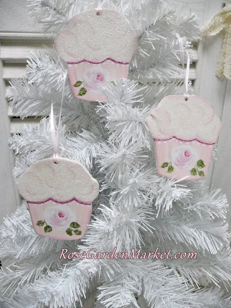 Light Pink Cupcake Hand Painted Rose Ornaments Set of 3 Hand image 0
