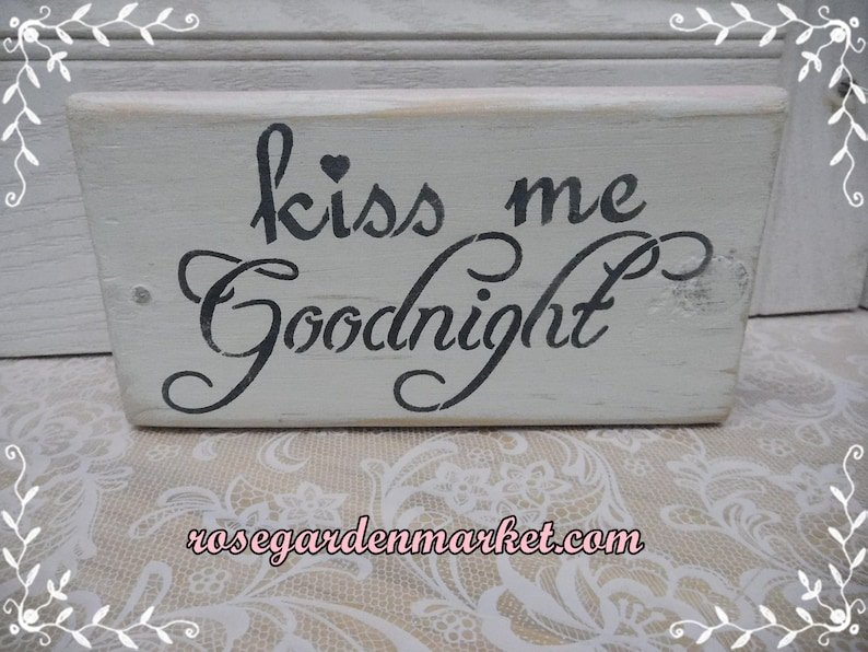 Kiss Me GoodnightWood Hand Cut Designed and Painted Block image 0