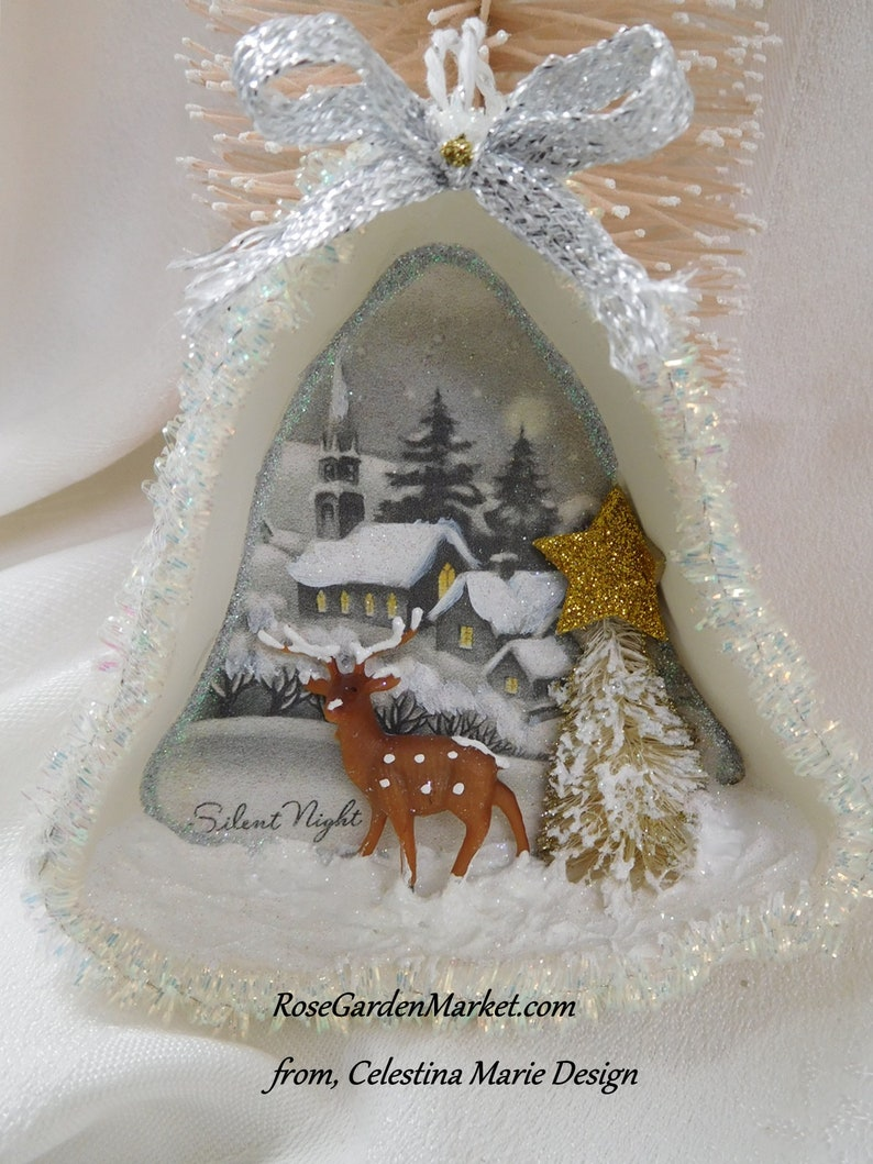 Silent Night Christmas Bell Shape Tart Pan Ornament Hand image 0