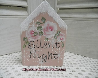 Silent Night Hand Cut Wood Block House with Hand Painted Roses in Pink with Distress, Snowy Glitter, Shelf Sitter, Tray Fillers, Holiday