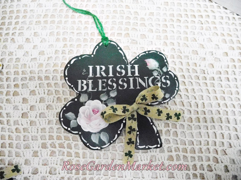 Irish Blessings Wood Shamrock Ornament with Hand Painted Rose image 0