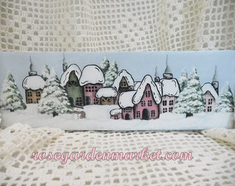Christmas Cottage Row, Hand Painted Block Shelf Sitter with Neighborhood Snow Scene, Christmas Decor, Holiday Accent, Cottage Shabby Design