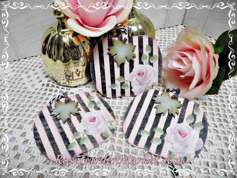 Shabby Cottage Pumpkin Ornaments with Hand Painted Roses image 0