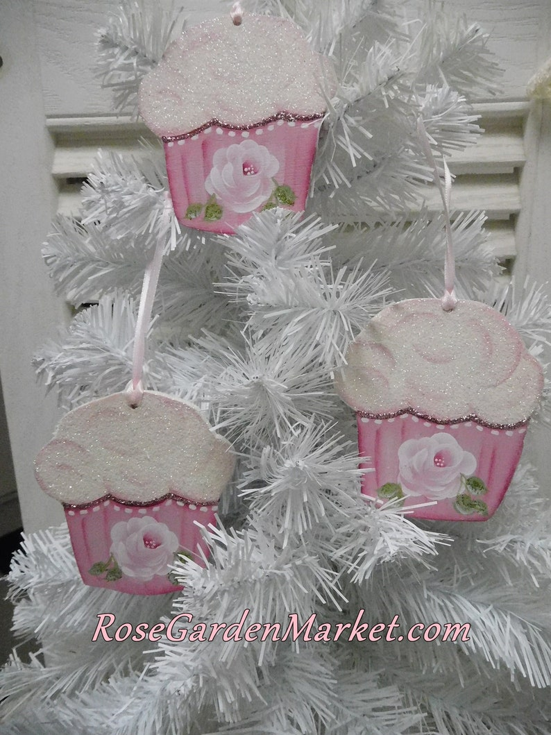Dark Pink Cupcake Hand Painted Rose Ornaments Set of 3 Hand image 0