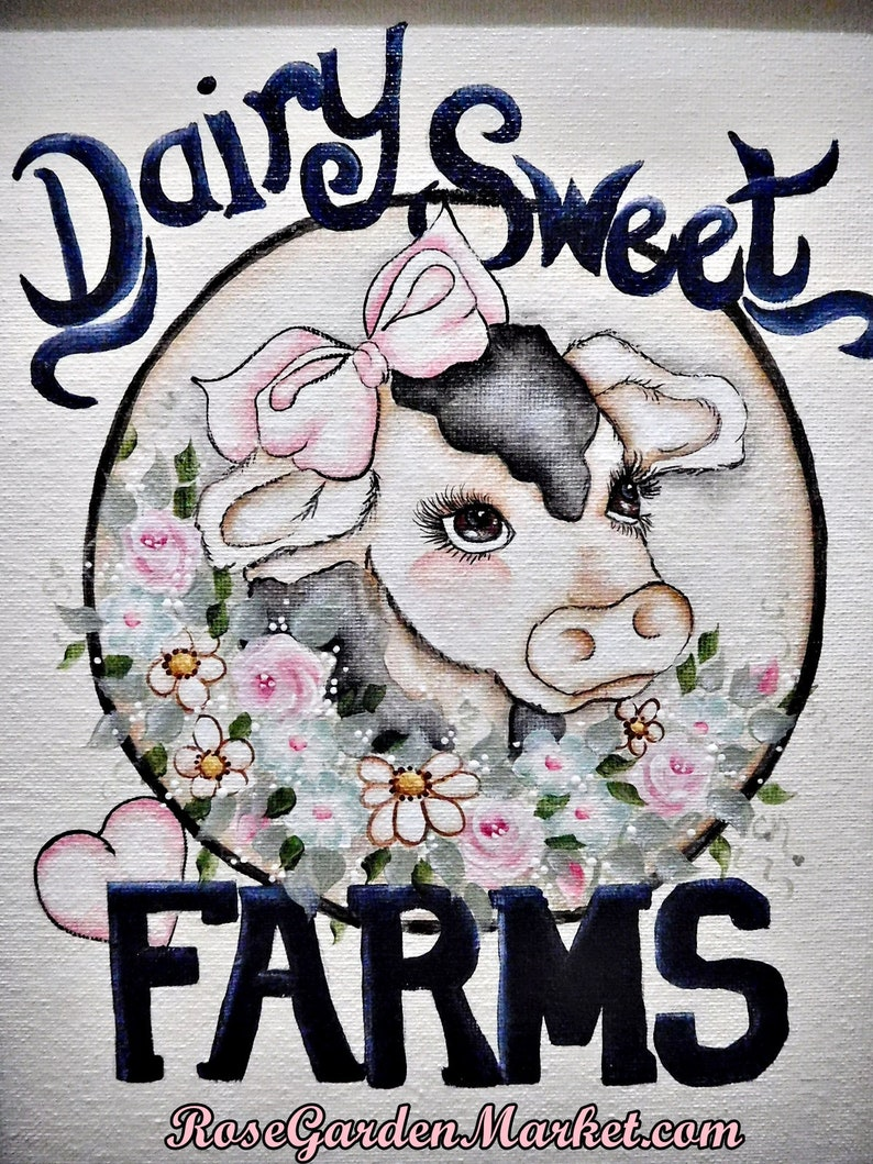 Dairy Sweet Farms Framed Cow Canvas Hand Painted Wall Art image 0