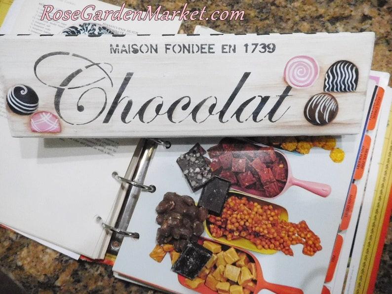Chocolat Wood Block Sign French Inspired Handpainted image 0