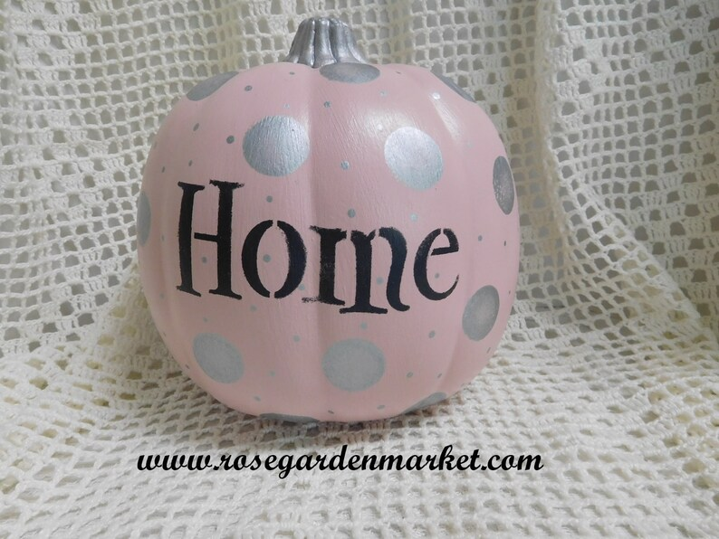 Blush Home Pumpkin Hand Painted with Silver Dots and Stem image 0