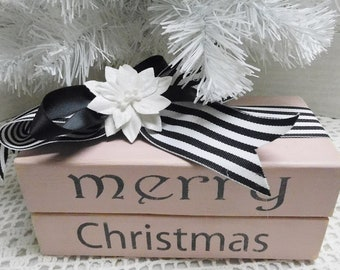Merry Christmas Wood Book Stack, Pink with Black and White Ribbon, Holiday Decor, Shelf Sitter, Decorating Holiday Accent, Hand Cut, Painted