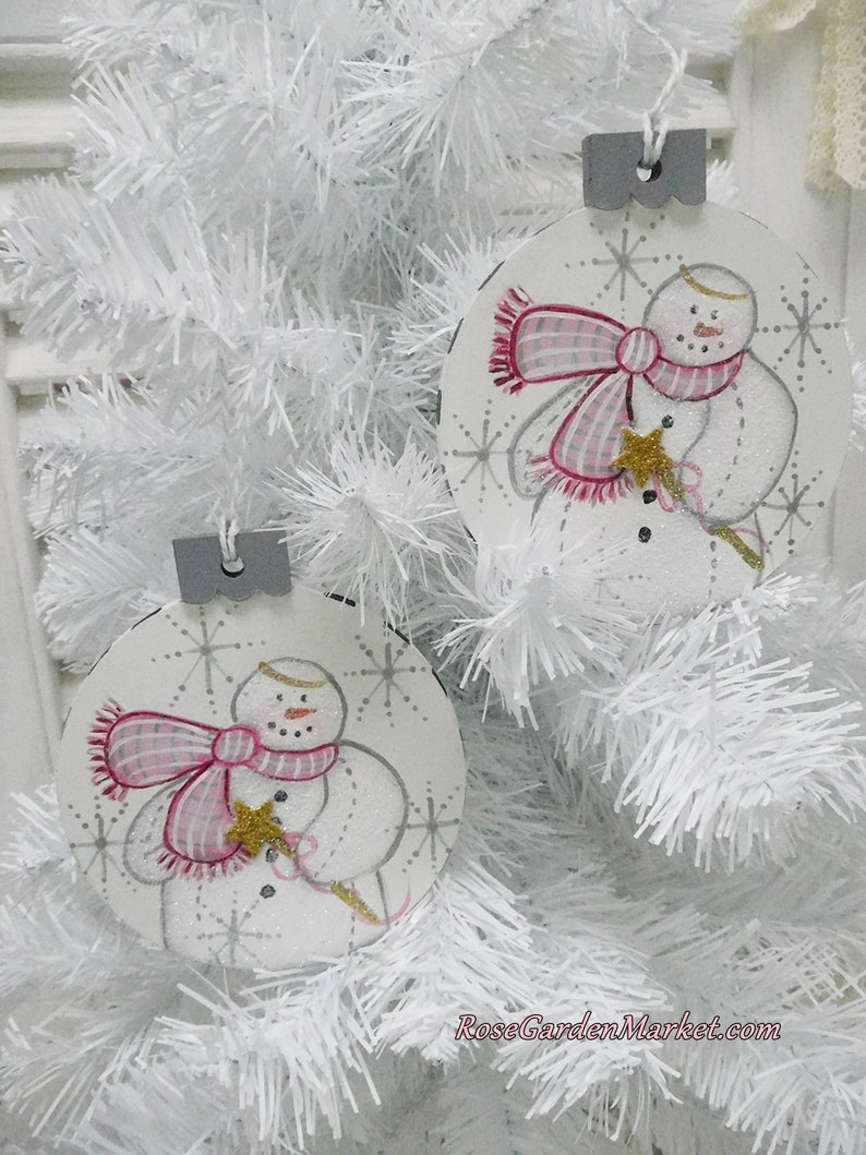 Snowman Ornament Set of 2 Hand Painted Wood Shape Snowflakes image 0