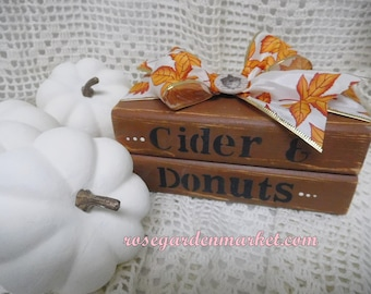 Cider and Donuts, Book Stack Set, Fall Decor, Farmhouse Autumn, Hand Cut Wood, Hand Painted Created, Shelf Sitter, Bookcase, Table Set