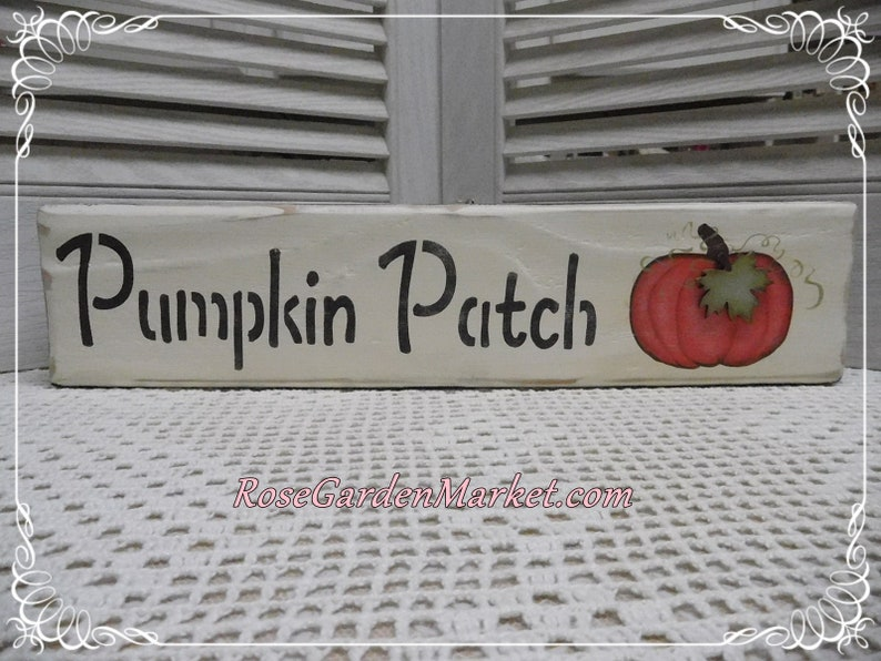 Wood Block Pumpkin Patch Sign Hand Painted Free Standing image 0