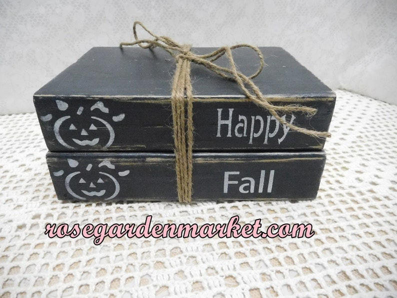 Wood Stacked Black Book Blocks Hand CutPainted Lettered image 0