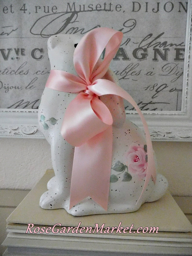 Rose Bunny Looking Up with Polka Dot Ears and Hand Painted image 0