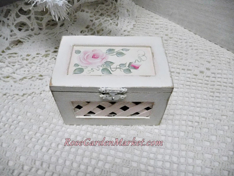 Small Lattice Wood Box Hand Painted with Shabby Cottage Pink image 0