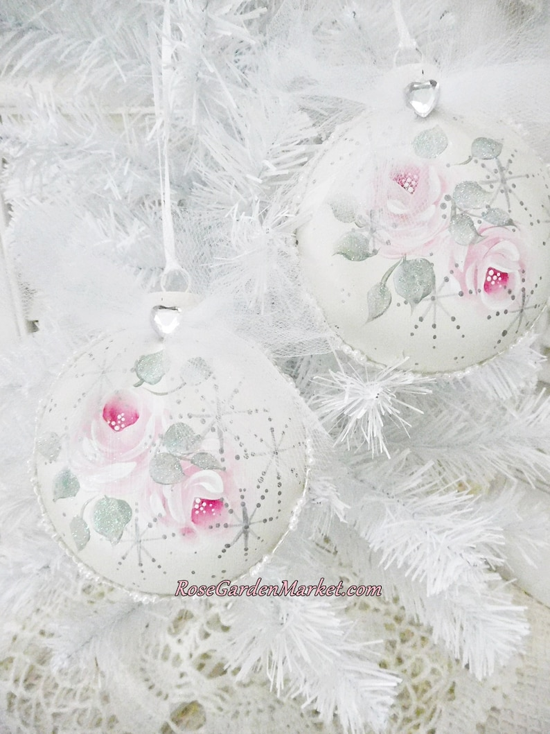 Round Set of 2 Glass Ornaments Hand Painted with Pink Roses image 0
