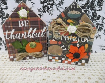 Fall House Set, Hand Cut Wood, Hand Painted, Designed, Tiered Tray, Shelf Sitters, Autumn Decor, Display, Farmhouse, Collectibles, Gift Set