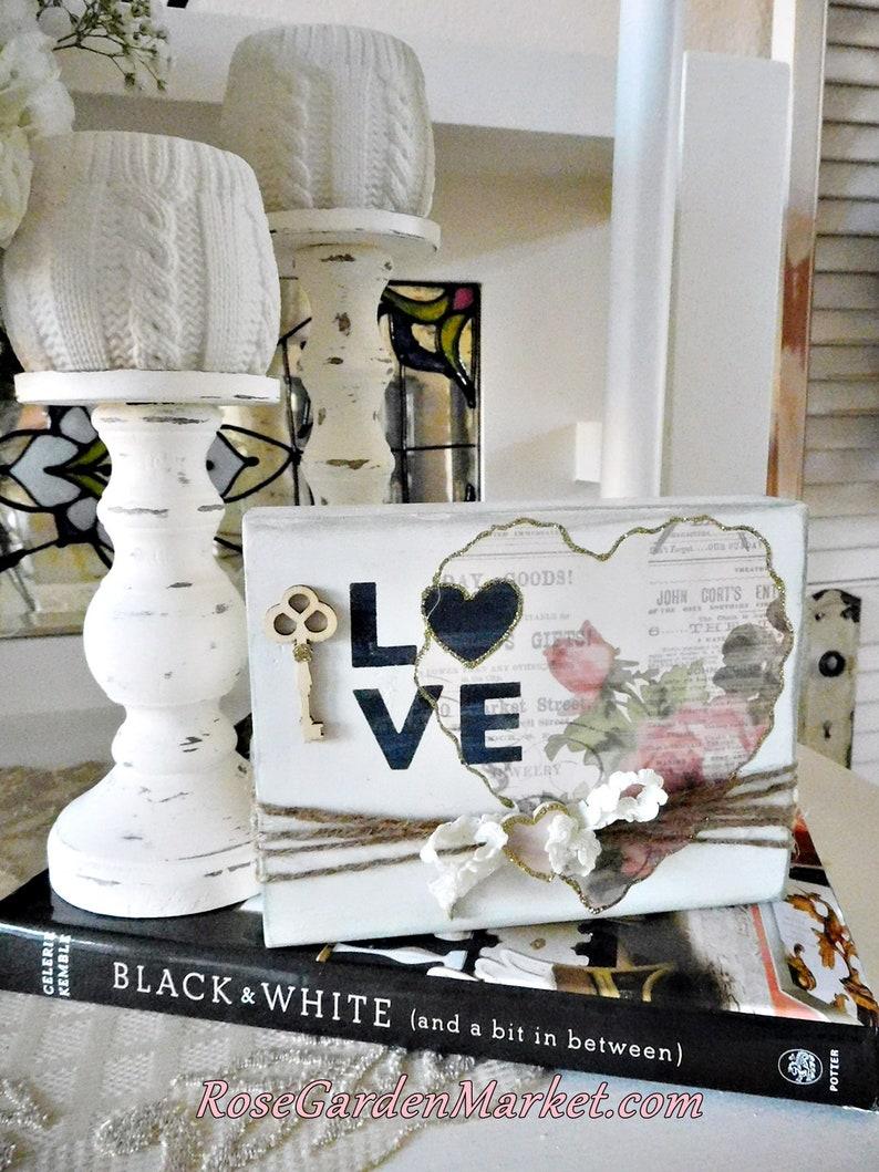 Love Sign Block with Heart Design Floral Designer Papers image 0