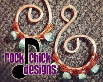 Copper Spiral Earrings with Liquor Bottle Glass beads -- recycled, repurposed, upcycled, creative reuse, liquor bottle, handmade, Humboldt