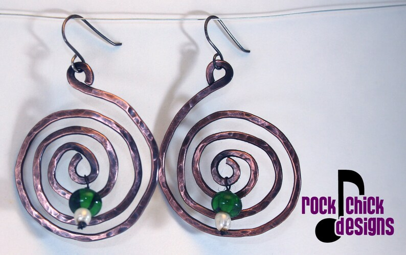 Spiral copper earrings large 1.5 inch diameter with recycled image 0