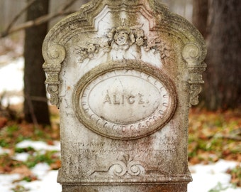 Alice - Wall Art - Photograph - Print - Color Photograph - Home Decor - Cemetery - Headstone - Tombstone - Snow - Winter