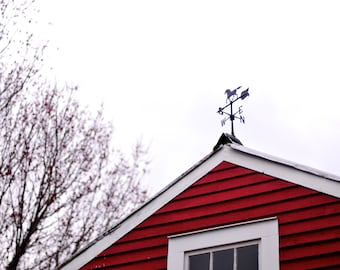 I'm Always Coming Back Home To You - 8x10 Print, Red, Barn, Compass, Weathervane
