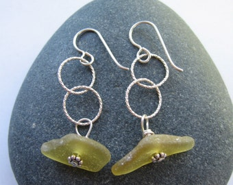 LEMONADE Lemon Yellow Sea Glass Earrings on Sterling Silver French Hooks