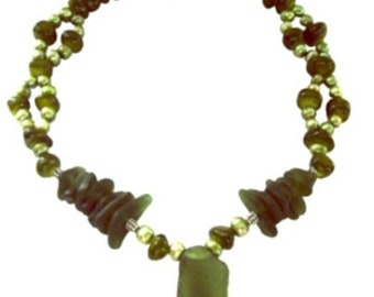 ORIENTAL EXPRESS Sea Glass and Jade Sterling Silver Necklace