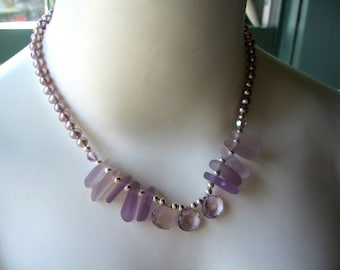 PURE ELEGANCE Lavender Sea Glass Swavorski Crystals and Dusty Lavender Freshwater Pearl Necklace