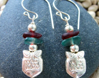 UP STREAM Hill Tribe Fish with Rare Red and Aqua Sea Glass Sterling Silver Handfordged French Hooks