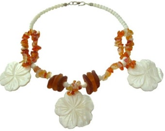 HIBISCUS MOON Sea Glass & Shell Sterling Silver Necklace