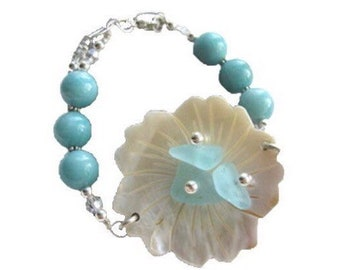 LA FLEUR Ice Blue Sea Glass Mother Of Pearl Flower and Amazonite Beads on Sterling Chain