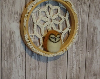 Needle Felted Barn Owl in Hoop with Vintage lace