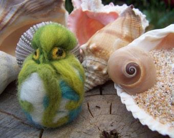 Needle Felted Miniature Green Octopus Sphere