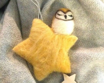 Needle Felted Owl in the Moon or Stars