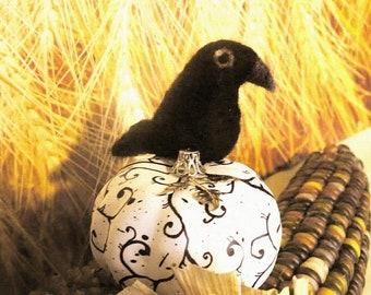 Needle Felted Crow on Pumpkin