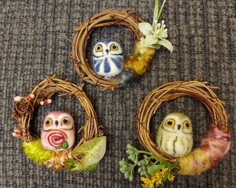 Needle Felted Springtime Owl in Grapevine Wreath