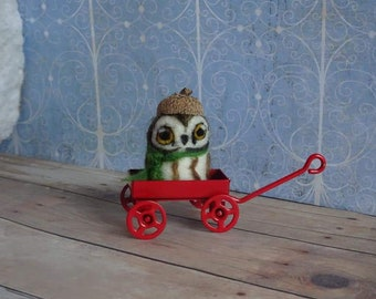 Needle Felted Owl in a Little Red Wagon