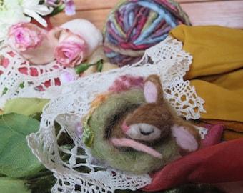 Needle Felted Sleepy Woodland Critter, Mouse, Hedgehog, Fox, Bunny, or Raccoon