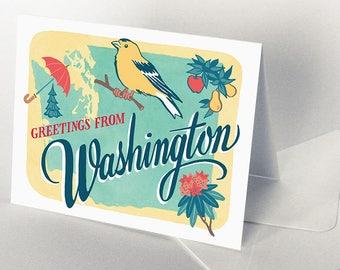 50 States cards, Pacific Northwest region - choose from Washington, Oregon, Idaho, Alaska greeting cards
