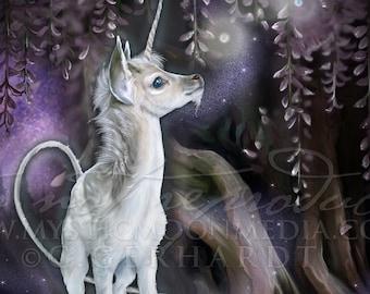 Wisteria / Unicorn Child / Unicorn Art / Baby Unicorn / Fantasy Art / Poster / Nursery Decor / Nursery Gift / Night / Fairy Decor