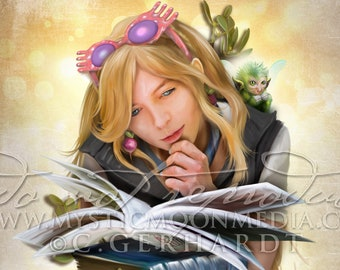 Luna /  Reading is Dreaming Print /Potter Gift Art / Nerd Gifts / Nerdy / Wizard / Witch / Magic / Magical / Wizardry