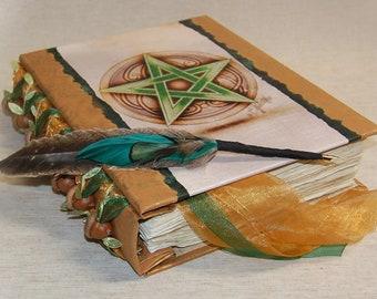 Oak Inspired / Pentagram / Book of Shadows / Journal / Personalized Journal / Wicca / Spell Book / Prayer Book / BOS / Spellbook/ Quill Pen