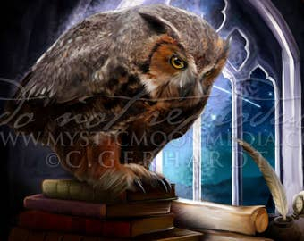 Owl of Wisdom /  Harry Gift Art / Eagle / Nerd Gifts / Nerdy / Wizard / Witch / Magic / Magical / Wizardry / School of