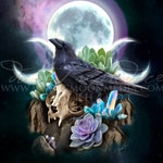 Triad Guide / Raven Art Print / Wiccan Altar / Wiccan Art / Pagan / Triple Goddess / Triple Moon / Witch / Witchcraft